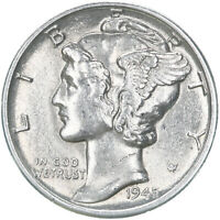 1945 D Mercury Dime 90% Silver Uncirculated US Coin