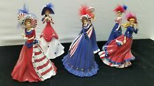 """Full Collection Of Thomas Kinkade's """"Freedoms In Fashion"""" Figurines 4th Of July"""