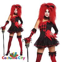 Womens Ladies Jesterina Harlequin Clown Halloween Jester Fancy Dress Costume