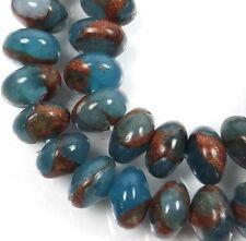 8x5mm Aquamarine Quartz with Pyrite / Gold Vein Rondelle Beads (37)