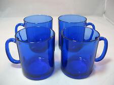 Cobalt Blue Glass Mugs Set of 4 Made in France Cups 12 oz