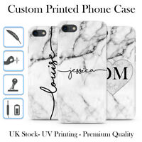 PERSONALISED GREY MARBLE BLACK INITIALS NAME CUSTOM HARD PHONE CASE FOR IPHONE