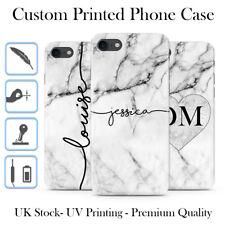 PERSONALISED GREY MARBLE BLACK INITIALS NAME CUSTOM HARD PHONE CASE FOR IPHONE