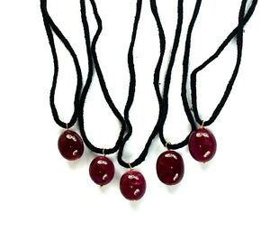 "5 Pcs Natural Red Ruby Gemstone Handmade Pendant 13"" Long Gift Sales"