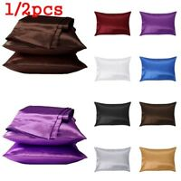 Pure Silk Pillow Cases Cushion Covers Pillowcases Standard Queen Solid Colors ~