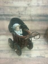 "Vintage Wooden Carriage Buggy Stroller and Vintage Jointed Porcelain 6"" Doll"