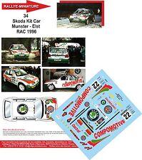 DECALS 1/43 REF34 SKODA FELICIA KIT CAR MUNSTER RALLYE RAC RALLY 1996 BELGIQUE