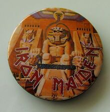 IRON MAIDEN VINTAGE 32mm METAL PIN BADGE FROM 1984 MADE IN ENGLAND POWERSLAVE