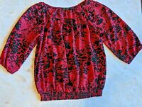The Limited NWT  3/4 Sleeve Top Blouse Size S Red Sheer black flowers
