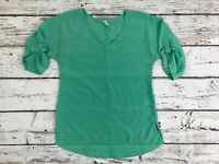 Old Navy Womens Green Loose Relaxed 3/4 Sleeve Semi Sheer Top Blouse Size XS