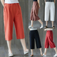 Women's Cotton Linen Baggy Cropped Trousers Summer Loose Casual Wide Leg Pants