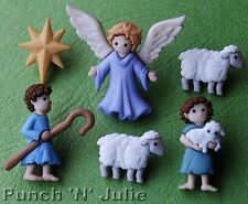 THE GOOD SHEPHERD Christmas Nativity Star Lamb Sheep Angel Dress It Up Buttons