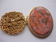 "Vintage 1974 ""Coraline"" signed SARAH COV GB faux agate pink pendant 28"" necklace"