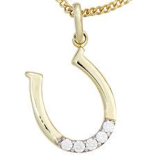 Echte Edelstein-Halsketten & -Anhänger aus Gelbgold mit Glück