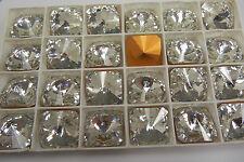 SWAROVSKI ® - 2 Pz  Cabochon Quadrato 4650 -14 mm Crystal Clear Vintage Gold F