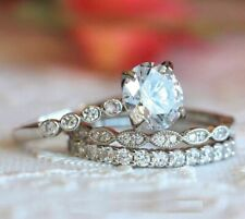 Ring Sets 14K White Gold Over 1.87Ct Brilliant Cut Moissanite Engagement Wedding