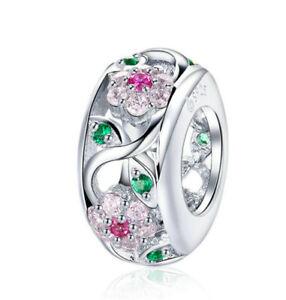 New European Silver Cz Charm Crystal Beads Fit Necklace Bracelet Chain Diy J0653