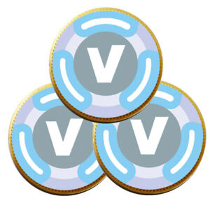 V Bucks Inspired Logo Chocolate Coin Stickers Birthday Party Bags Games Gaming