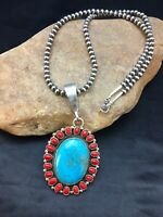 Navajo Sterling Silver Blue Turquoise Coral Necklace Pendant Yazzie 1002