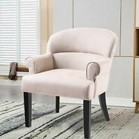 Modern Accent Chair Stylish Fabric Armchair Living Room w/Black Wood Legs Beige
