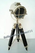 Vintage Marine Maritime Chrome Spotlight Table Lamp Wooden Tripod Home Decor