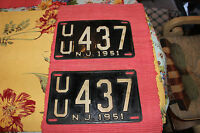 Vintage 1951 New Jersey License Plates-Matching Pair-UU437-LQQK-Transportation