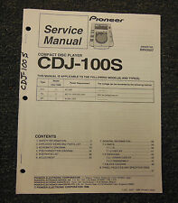 PIONEER CDJ-100S Compact Disc Player Service Manual Original OEM