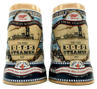 Miller High Life Great American Achievements 2 Beer Steins First Steamboat