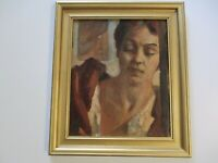 MYRON CHESTER NUTTING PAINTING ANTIQUE AMERICAN IMPRESSIONIST PORTRAIT WOMAN