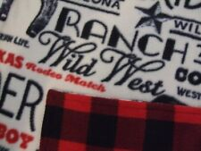 Western rodeo, Red/black Buffalo plaid baby infant fleece swaddle crib blanket.