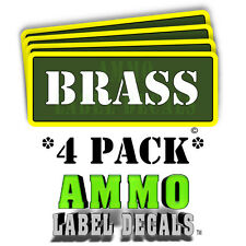 "BRASS Ammo Label Decals Ammunition Case 3"" x 1"" Can stickers 4 PACK -YWagRD"