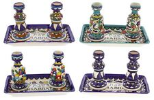 More details for armenian ceramic shabbat candlesticks with tray candle stick jewish shabbos