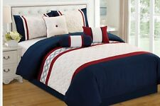 7 piece embroidered comforter set nautical w navy n red queen OVERSIZED