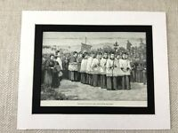 1887 Print Holy Island Lindisfarne Northumberland Religious Procession Antique