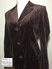 GIANNI VERSACE COUTURE VINTAGE 93 SUITS JACKET & SKIRT VELOUR ZEBRA BROWN ANIMAL