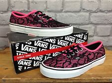 VANS LADIES UK 4 EU 36.5 PINK BLACK AUTHENTIC LACE TRAINERS RRP £51.99
