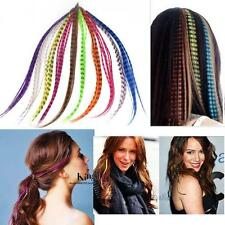"""50x Feathers+ 50X Micro Ring Grizzly Synthetic Feather Hair Extensions 16"""" W/ 5N"""
