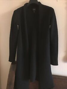 Eileen Fisher Open Black Wool Long Cardigan S