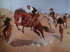 Western Print Cowboy On A Bucking Bronco Remington Print Open Edition
