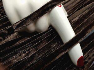 "Vintage 3/16"" Velvet 6mm Ribbon Chocolate Brown 3yds Swiss"