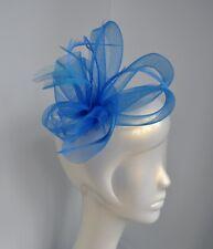 Net & feather fascinator hair clip. Nude, cobalt, navy, fuchsia, cerise, silver+