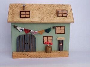 Pretty handmade wooden rural driftwood cottage house, gift, artwork ornament