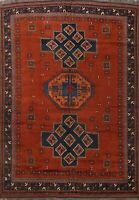 Vintage Tribal Traditional Hand-knotted Area Rug Geometric Oriental Carpet 8x10