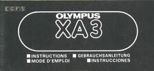 Original Instruction Manual for Olympus XA3 (multi-language: E G F S)