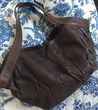 J.JILL Women's BOHEMIAN LARGE PEBBLE LEATHER STITCHED STRAP SATCHEL Shoulder Bag