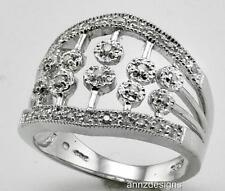 Tw 0.25 ct, size 7.5 Sterling Silver Right Hand Diamond Band