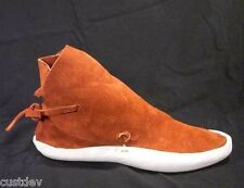Men's Rust Navajo Style No Button Thick Sole Moccasins / Earthing Shoes