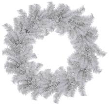 18IN Silver Christmas Wreath Artificial Tinsel Brush Door Hanging Xmas Decor
