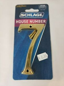 """SCHLAGE #7 HOUSE NUMBER 4"""" SOLID BRASS HOUSE NUMBER - NEW - FREE SHIPPING"""