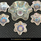 Dugan Petal & Fan Jeweled Heart WHITE Carnival Glass BERRY SET bowl and 5 small